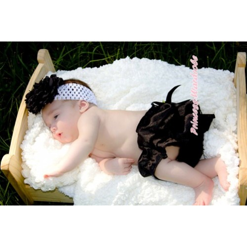 Black Satin Bloomers with Black Rose Ribbon B065