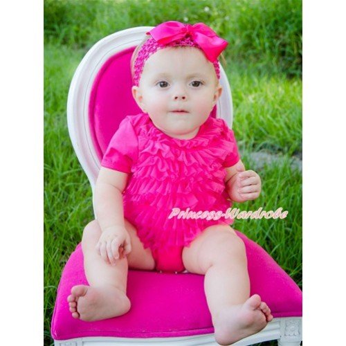 Hot Pink Ruffles Baby Jumpsuit With Accessory 2PC Set TH409