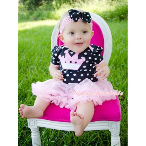 Black White Dots Baby Bodysuit Jumpsuit Light Pink Pettiskirt With Crown Print With Light Pink Headband Black White Dots Ribbon Bow JS1827