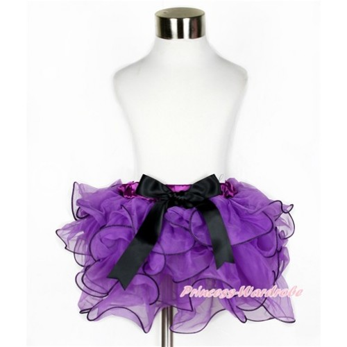 Dark Purple Flower Petal Full Pettiskirt With Black Bow B226