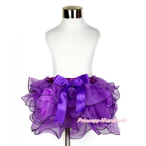 Dark Purple Flower Petal Full Pettiskirt With Dark Purple Bow B227