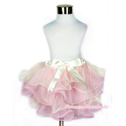 Cream White Light Pink Flower Petal Full Pettiskirt With Cream White Bow B230