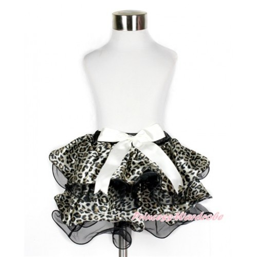 Black Leopard Flower Petal Full Pettiskirt With Cream White Bow B240