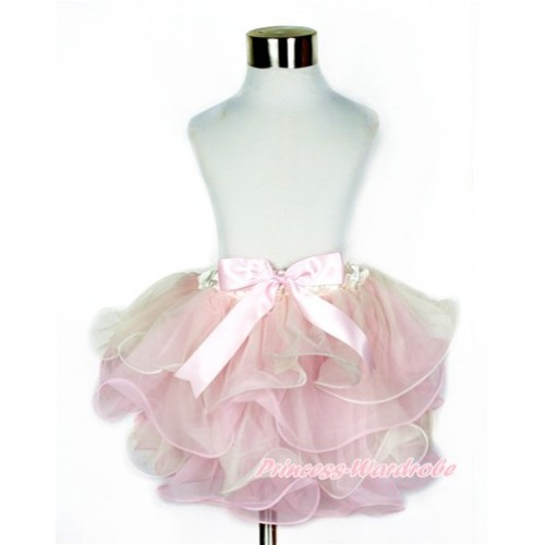 Cream White Light Pink Flower Petal Newborn Baby Pettiskirt With Light Pink Bow N193
