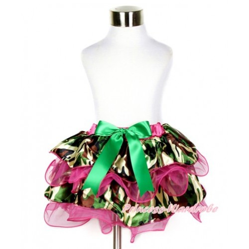 Hot Pink Camouflage Flower Petal Newborn Baby Pettiskirt With Kelly Green Bow N197