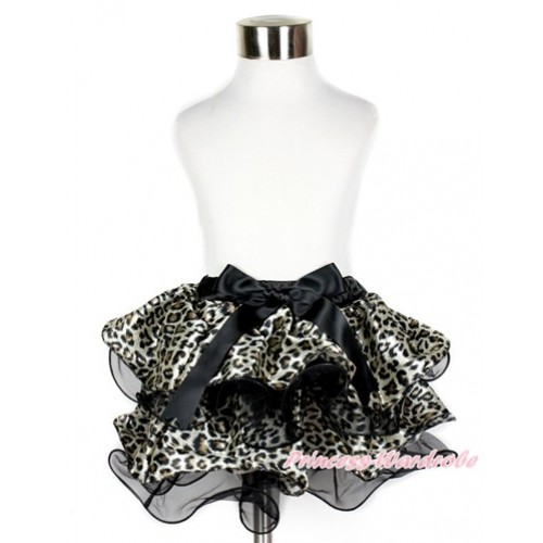 Black Leopard Flower Petal Newborn Baby Pettiskirt With Black Bow N201
