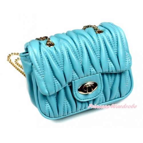 Gold Chain Light Blue Luxury Quilt Shoulder Bag CB135