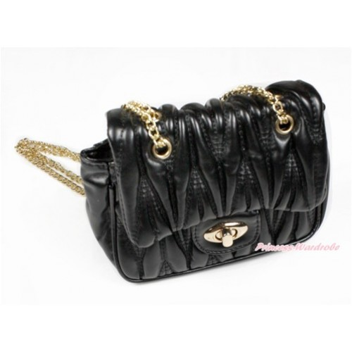 Gold Chain Black Luxury Quilt Shoulder Bag CB138