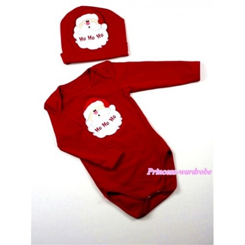 Hot Red Long Sleeve Baby Jumpsuit with Santa Claus Print with Cap Set LS50