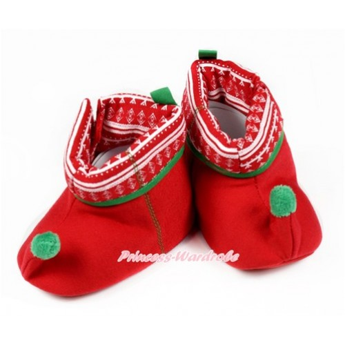 Xmas Print Hot Red Kelly Green Newborn Toddler Baby Crib Boots SB37