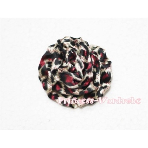 Hot Pink Leopard Print Rosettes Hair Pin H114