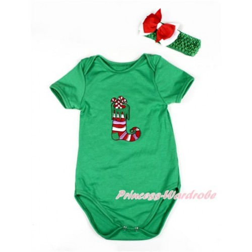 Xmas Kelly Green Baby Jumpsuit with Christmas Stocking Print TH414