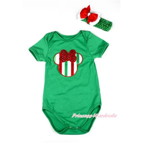 Xmas Kelly Green Baby Jumpsuit with Red White Green Striped Minnie Print TH417