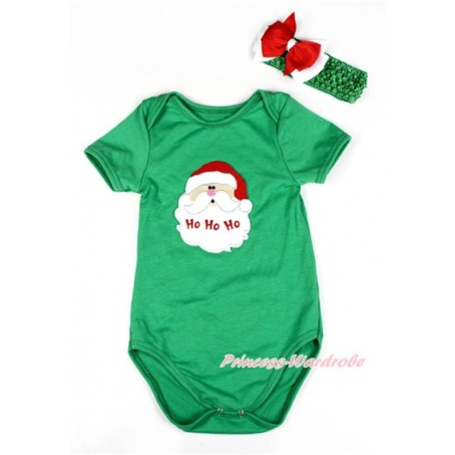 Xmas Kelly Green Baby Jumpsuit with Santa Claus Print TH420
