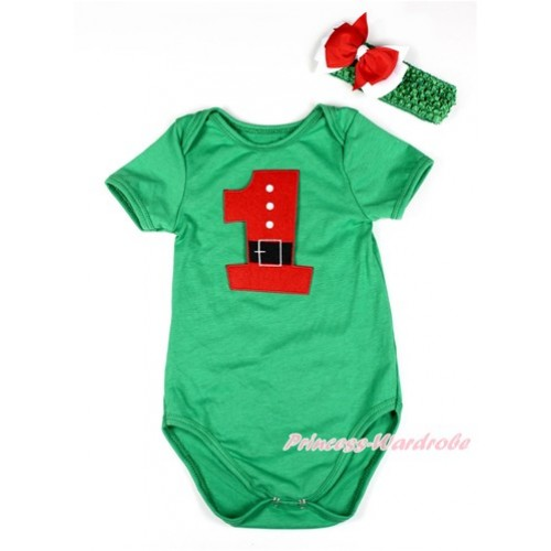 Xmas Kelly Green Baby Jumpsuit with 1st Santa Claus Birthday Number Print TH423
