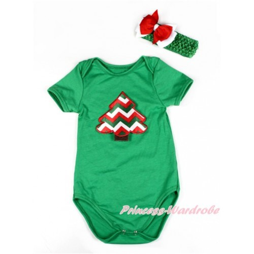 Xmas Kelly Green Baby Jumpsuit with Red White Green Wave Christmas Tree Print TH441
