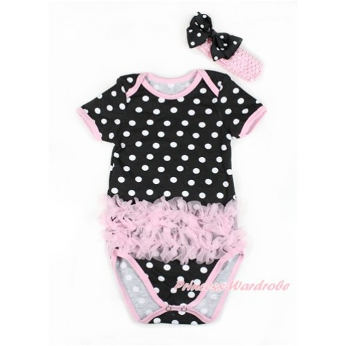 Black White Polka Dots Baby Jumpsuit with Triple Light Pink Ruffles TH425