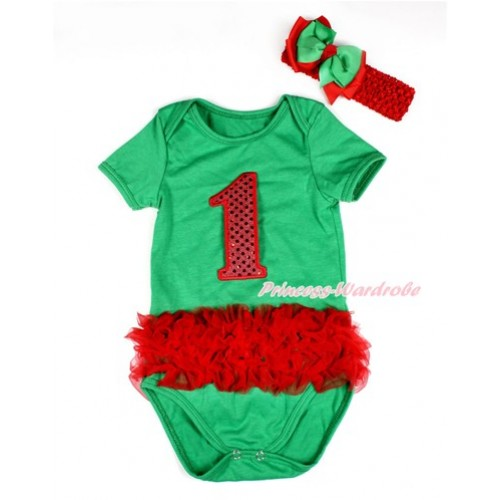 Xmas Kelly Green Baby Jumpsuit with Triple Red Ruffles & 1st Sparkle Red Birthday Number Print TH427