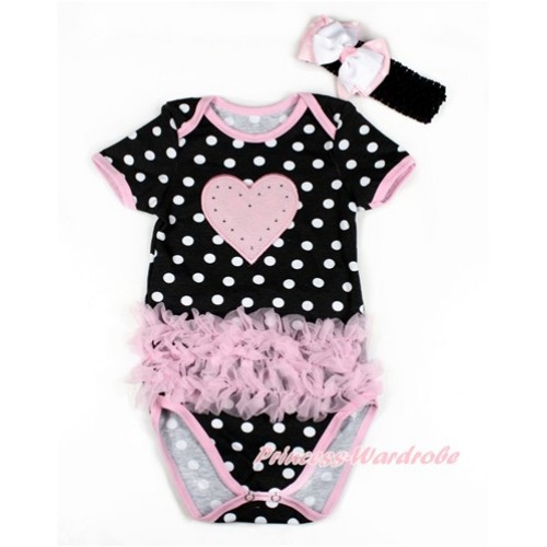 Black White Polka Dots Baby Jumpsuit with Triple Light Pink Ruffles & Light Pink Heart Print TH435