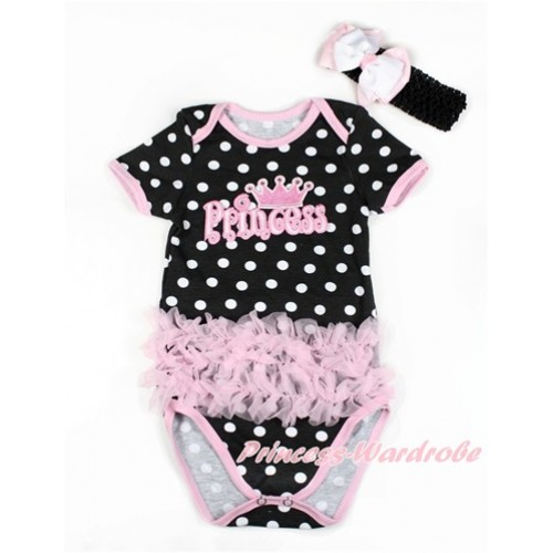 Black White Polka Dots Baby Jumpsuit with Triple Light Pink Ruffles & Princess Print TH436