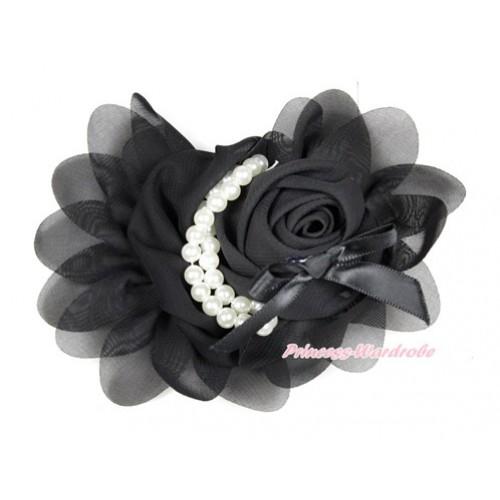Black Petal Crystal Pearl Bow Rosettes Hair Clip H765