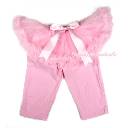 Light Pink Bow Light Pink Pettiskirt Matching Light Pink Leggings Culottes High Elastic Pant Twinset SL002
