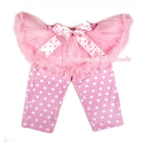 Light Hot Pink Dots Bow Light Pink Pettiskirt Matching Light Pink White Dots Leggings Culottes High Elastic Pant Twinset SL004