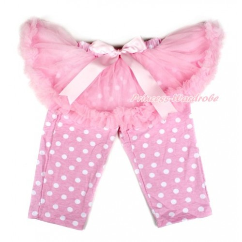 Light Pink Bow Light Pink Pettiskirt Matching Light Pink White Dots Leggings Culottes High Elastic Pant Twinset SL005