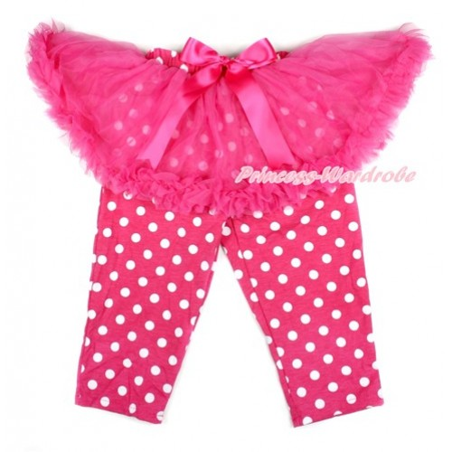 Hot Pink Bow Hot Pink Pettiskirt Matching Hot Pink White Dots Leggings Culottes High Elastic Pant Twinset SL006