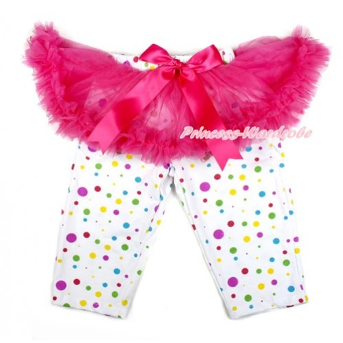 Hot Pink Bow Hot Pink Pettiskirt Matching White Rainbow Polka Dots Leggings Culottes High Elastic Pant Twinset SL008