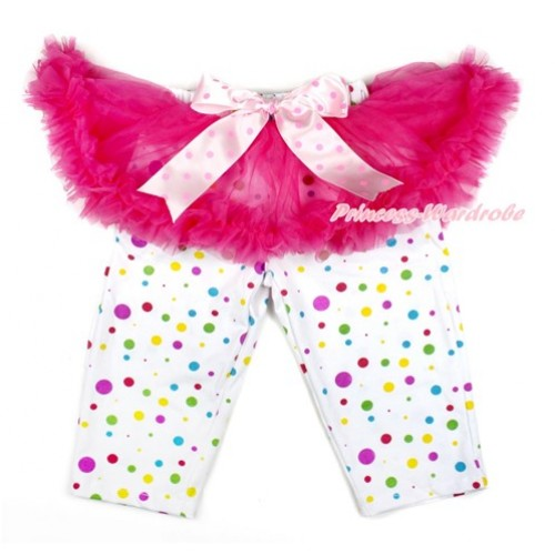 Light Hot Pink Dots Bow Hot Pink Pettiskirt Matching White Rainbow Polka Dots Leggings Culottes High Elastic Pant Twinset SL009