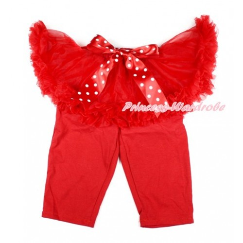 Minnie Dots Bow Red Pettiskirt Matching Red Leggings Culottes High Elastic Pant Twinset SL010