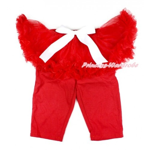 White Bow Red Pettiskirt Matching Red Leggings Culottes High Elastic Pant Twinset SL012