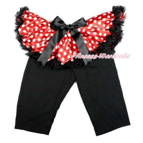 Black Bow Minnie Dots Pettiskirt Matching Black Leggings Culottes High Elastic Pant Twinset SL014