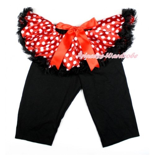 Red Bow Minnie Dots Pettiskirt Matching Black Leggings Culottes High Elastic Pant Twinset SL015