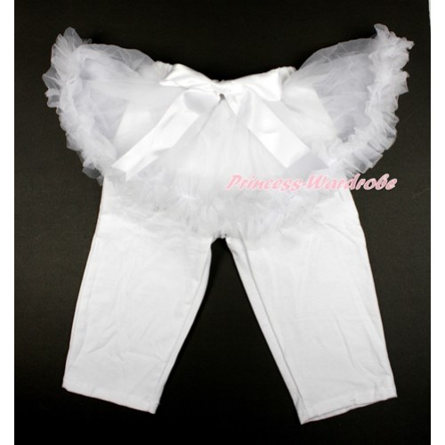 White Bow White Pettiskirt Matching White Leggings Culottes High Elastic Pant Twinset SL016