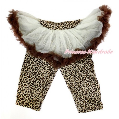 Cream White Brown Pettiskirt Matching Leopard Leggings Culottes High Elastic Pant Twinset SL017