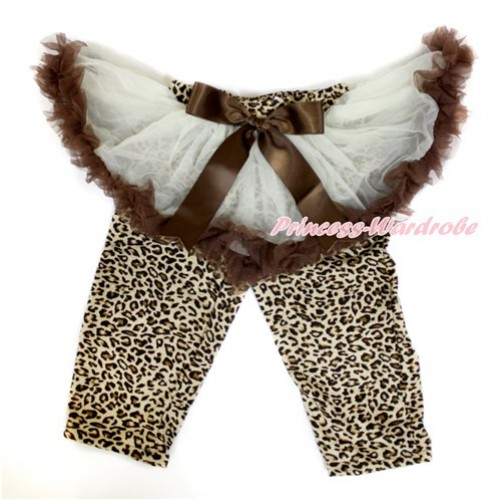Brown Bow Cream White Brown Pettiskirt Matching Leopard Leggings Culottes High Elastic Pant Twinset SL018