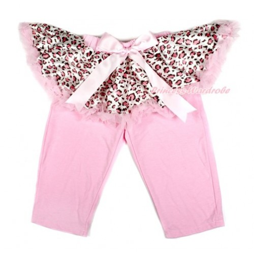 Light Pink Bow Light Pink Leopard Pettiskirt Matching Light Pink Leggings Culottes High Elastic Pant Twinset SL019
