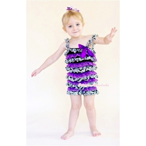 Damask Dark Purple Layer Chiffon Romper with Dark Purple Bow & Straps LR119
