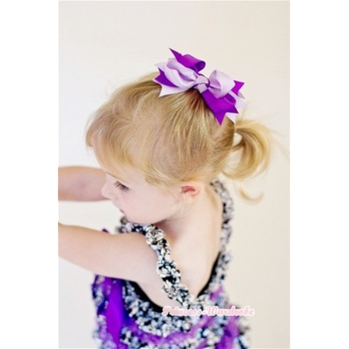 Dark Light Purple Screwed Ribbon Bow Hair Clip H84