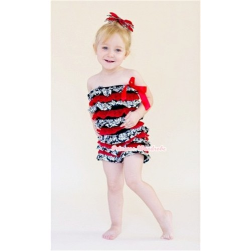 Damask Hot Red Layer Chiffon Romper with Hot Red Bow LR102