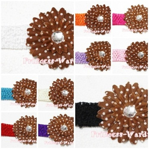 Brown White Polka Dot Crystal Daisy Hair Clip with Match Headband F20