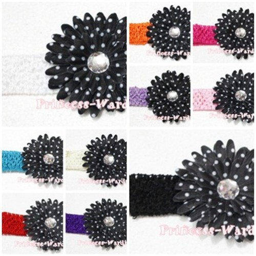 Black White Polka Dot Crystal Daisy Hair Clip with Match Headband F21