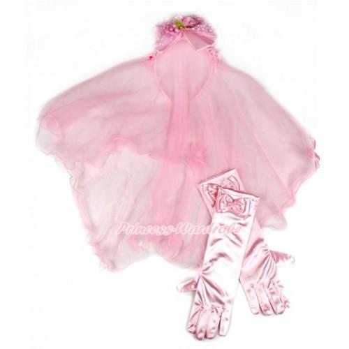 Elegant Light Pink Girl Wedding Bridal Bead Corsage Headband Veil Mask Costume With Light Pink Satin Princess Gloves 2pc Set C209