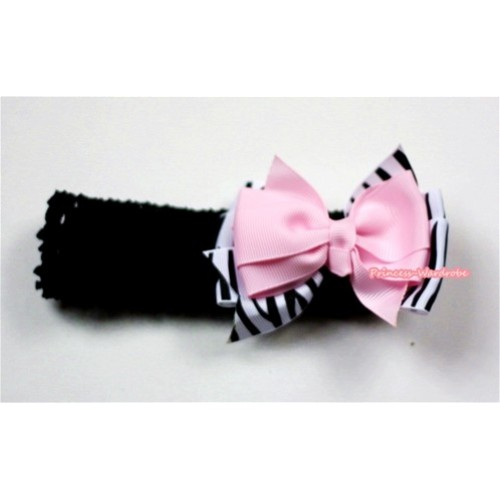 Black Headband with Zebra & Light Pink Ribbon Hair Bow Clip H486