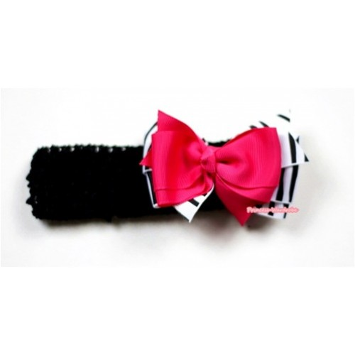 Black Headband with Zebra & Hot Pink Ribbon Hair Bow Clip H492