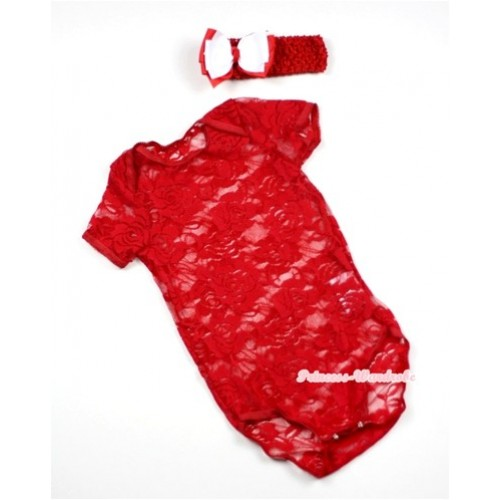 Hot Red See Through Baby Jumpsuit with Red Headband White Red Ribbon Bow TH269