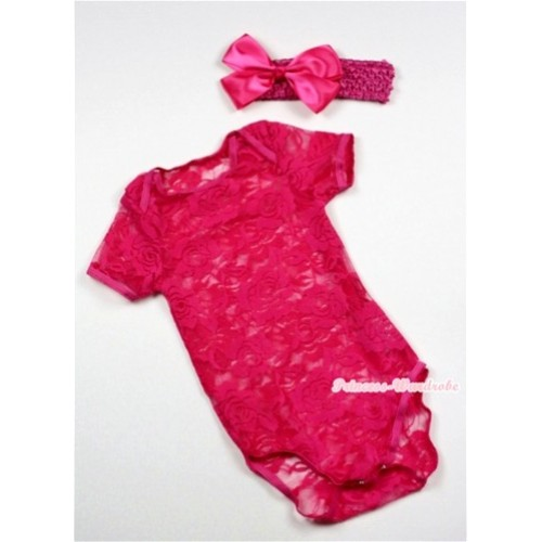 Hot Pink See Through Baby Jumpsuit with Hot Pink Headband & Hot Pink Bow TH271