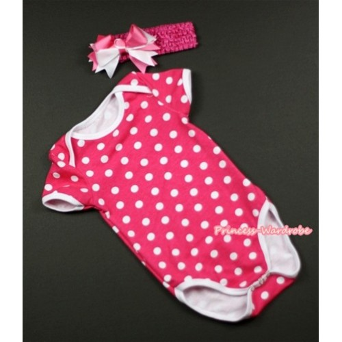 Hot Pink White Polka Dots Baby Jumpsuit with Hot Pink Headband & Hot Pink White Bow TH275
